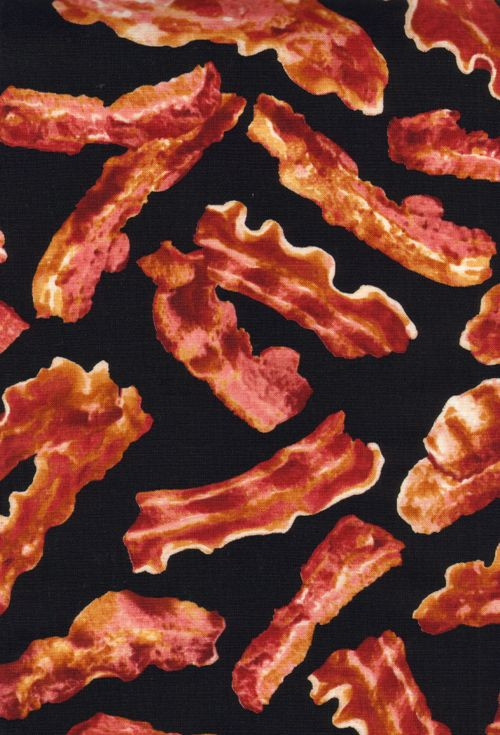 I don't know if this would make a good diaper cover, but I love that bacon fabric exists.