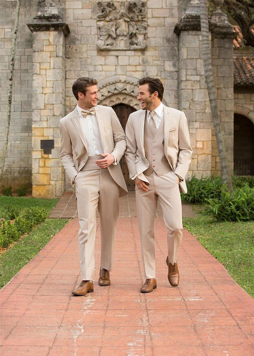 2017 New Cream Colored Two On Style Lapel Groom Tuxedos Suit Wedding