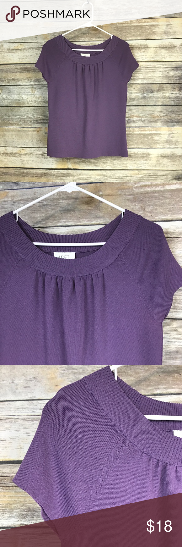 ⚫️Ann Taylor LOFT purple shirt sleeve top Stretchy material, size Medium. LOFT Tops