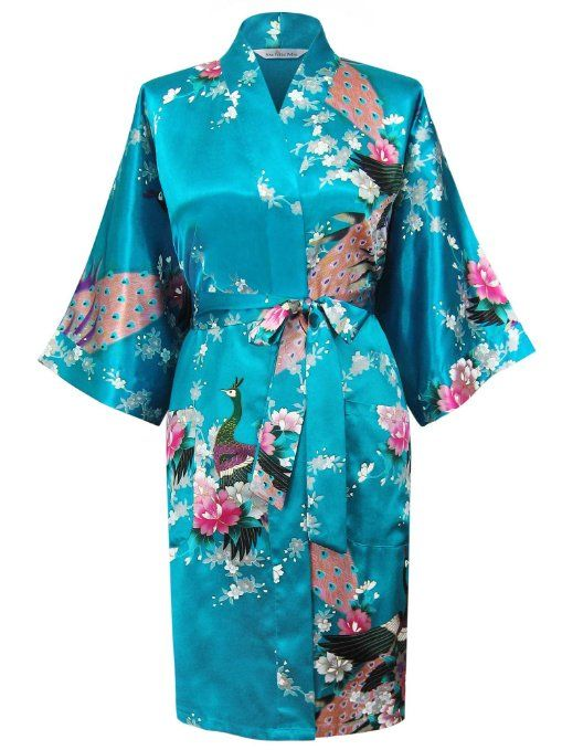 Swhiteme Women's Kimono Robe, Peacock, Short, Teal at Amazon Women's Clothing store