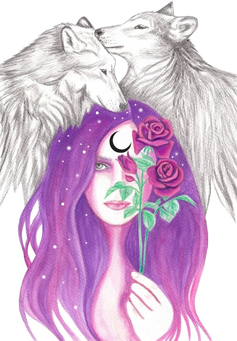 Crimson Glory Wolf Spirit Animal Purple Art Mermaid Drawings