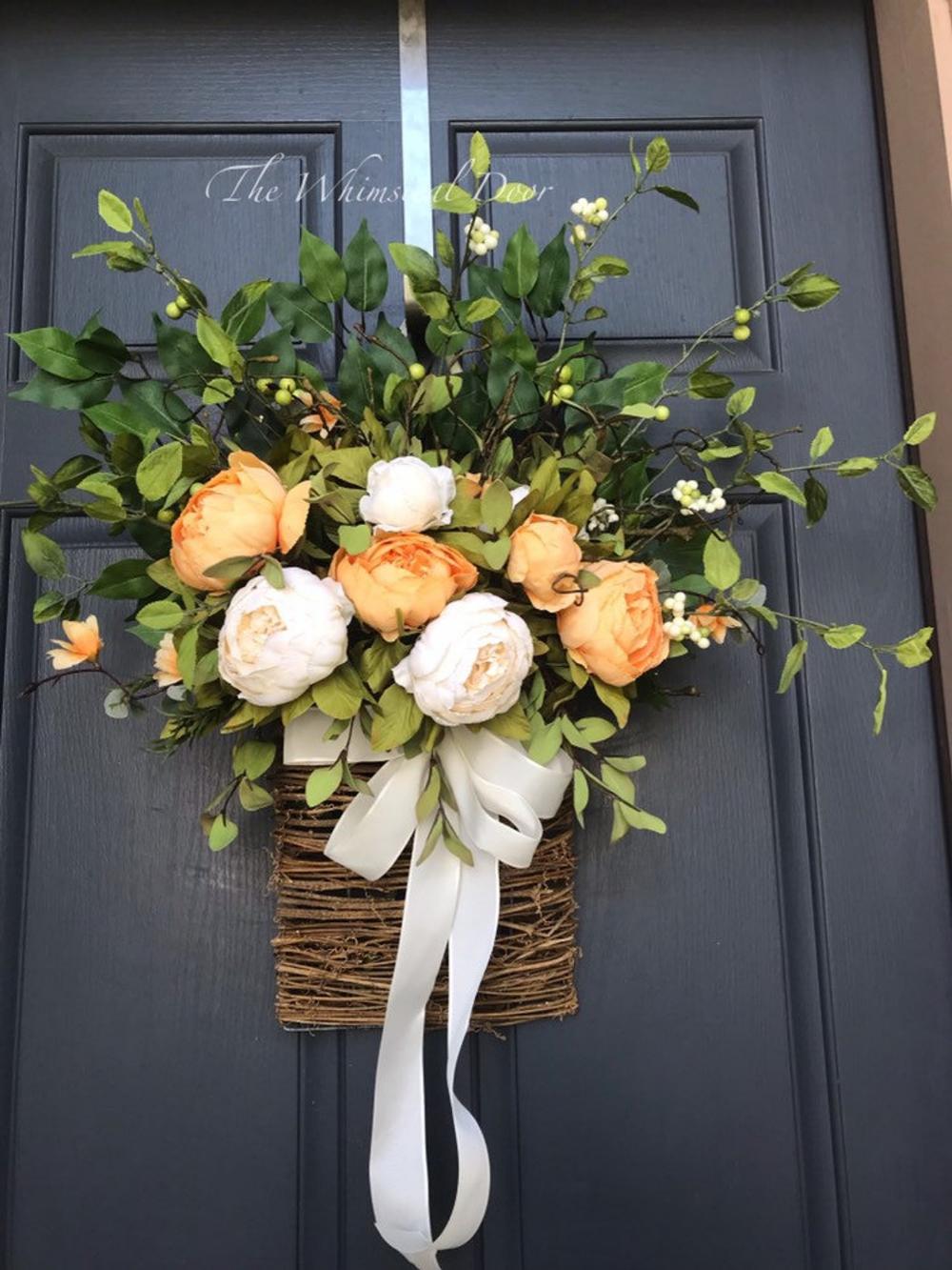 Photo of Flower basket wreath autumn wreath wreath for front doors pink spring wreath basket autumn wreath farmhouse wreath orange and cream