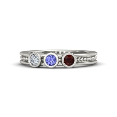 Christmas Gift -925 Silver Jewelry-Custom Sapphire Mom Ring1 Sterling Silver Birthstone Ring Birthstone Band Personalized Gift for Her