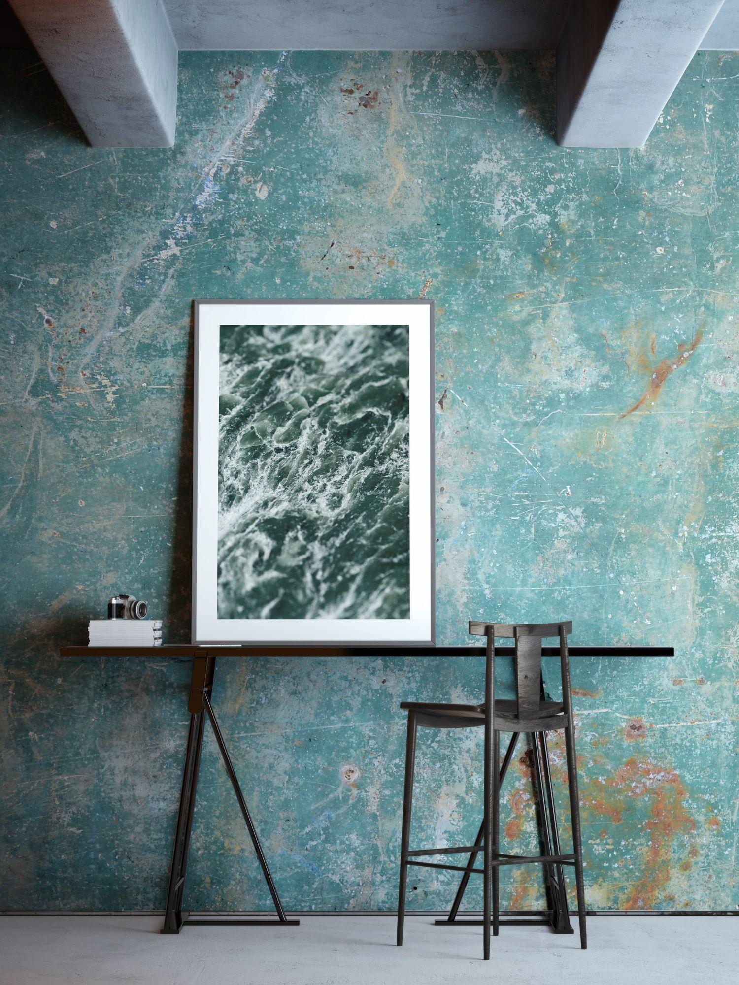 Teal Verdigris Wallpaper Mural | Industrial, Living rooms and Wallpaper
