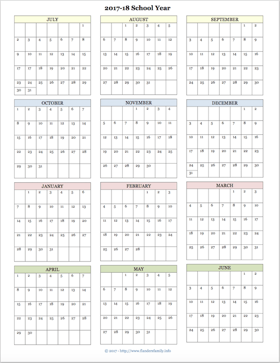 graphic regarding Calendar for Printable named Totally free printable educational calendar for 2017-2018 faculty 12 months