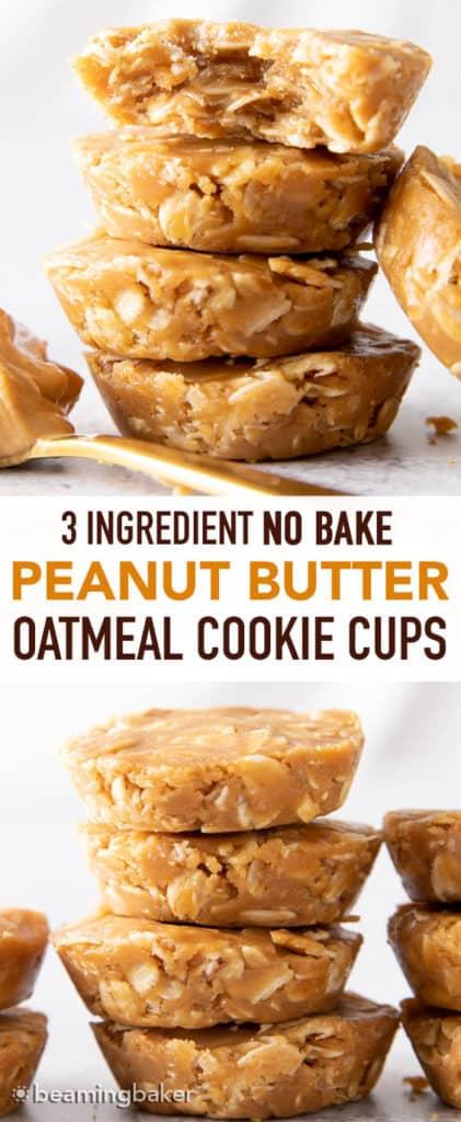 3 Ingredient No Bake Peanut Butter Oatmeal Cookie Cups (Healthy, Vegan, GF) - Beaming Baker -   16 peanut butter desserts Healthy ideas