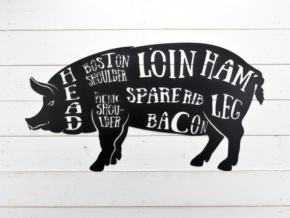 Pig Butcher Shop Sign Pork Meat Chart Butcher Diagram Meat Cuts