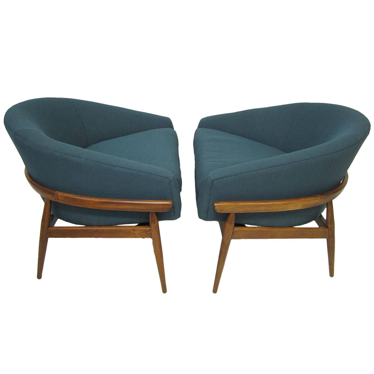 Amazing Pair Of Milo Baughman Wide Barrel Back Lounge Chairs Mid Century  Modern