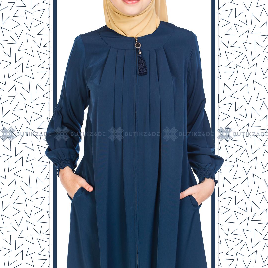 Puskullu Robali Ferace Lacivert Abaya Tarzi Islami Giyim Moda Stilleri