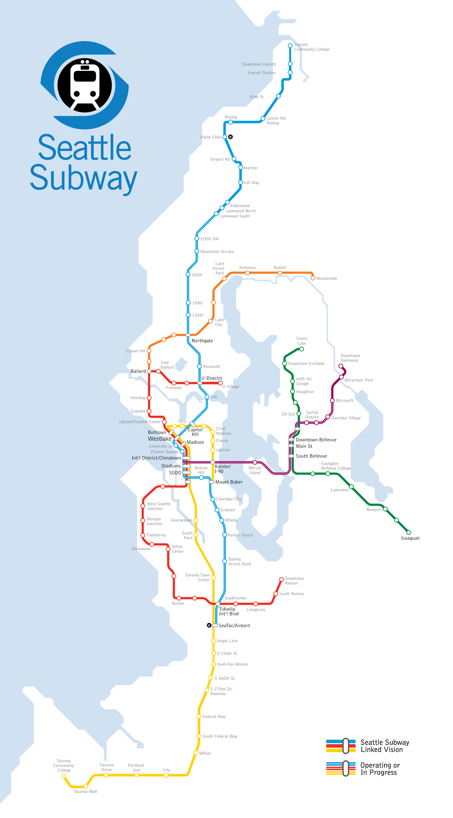 Proposed Seattle Subway Map  Transportation  Cities  Pinterest