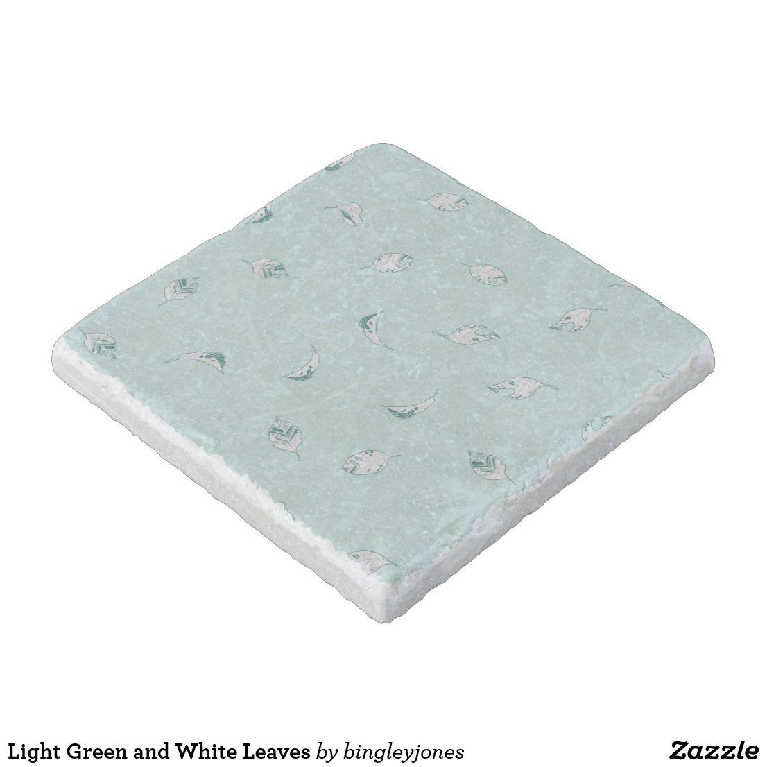 Light Green and White Leaves Stone Coaster   Zazzle.com ...