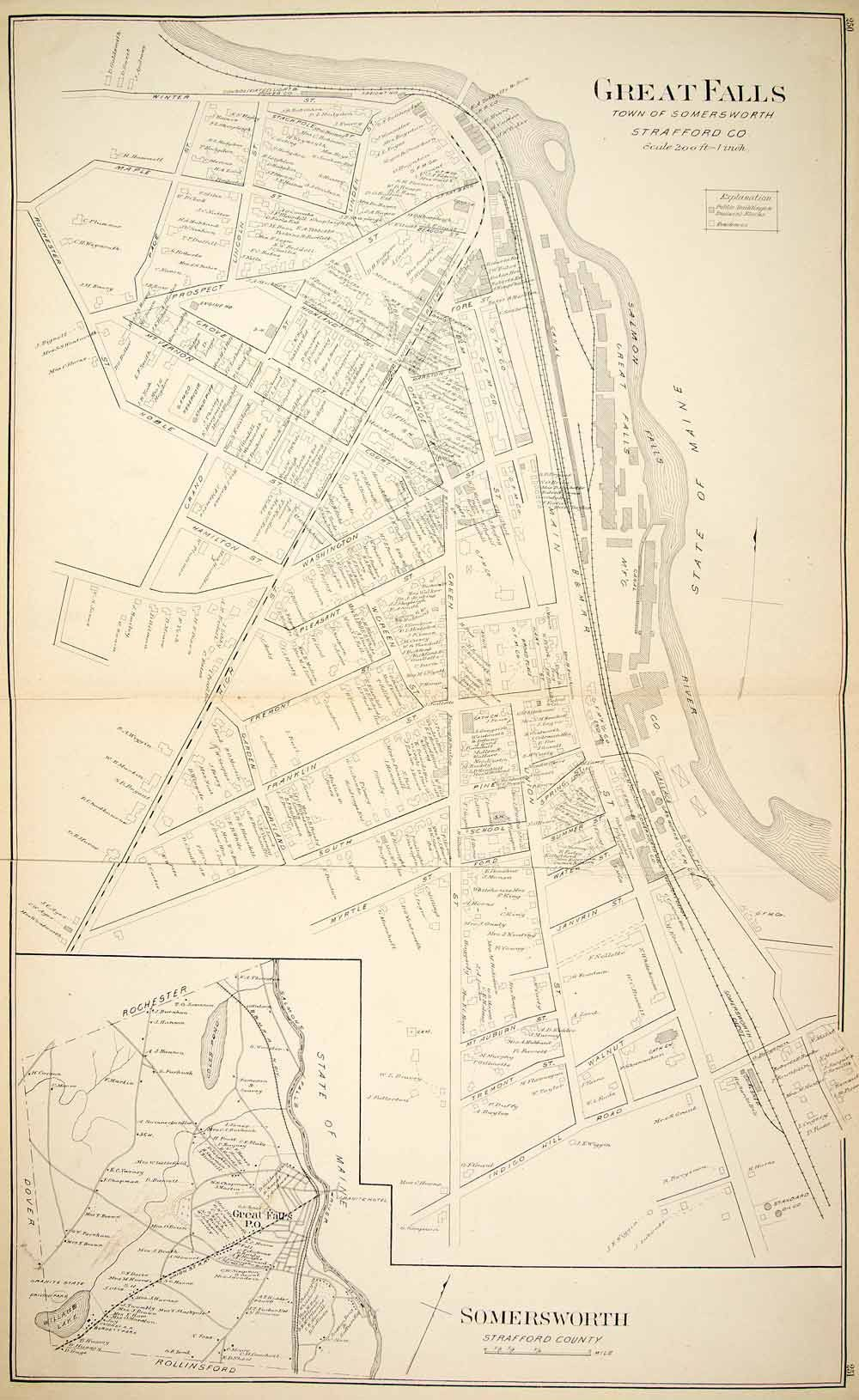 1892 Lithograph Map City Great Falls Somersworth Strafford County