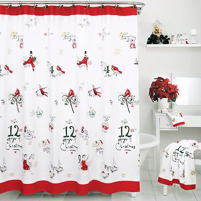 Lenox BY Bardwil 12 Days OF Christmas Pictorial Fabric Shower Curtain NEW