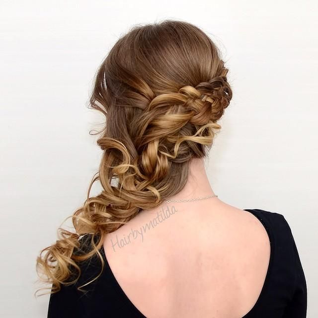 Five Strand Braid Into A Curly, Loose Side Braid