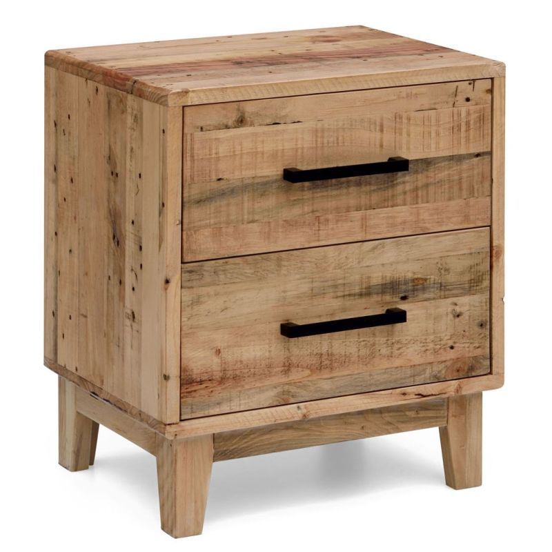 Portland Solid Recycled Pine Timber Bedside Table ...