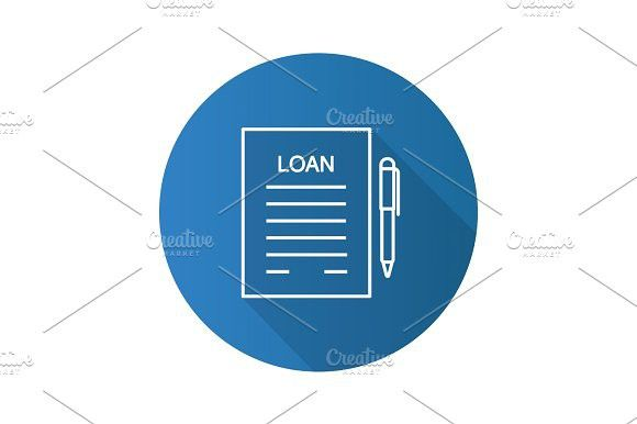 Loan agreement flat linear long shadow icon Icons and Icon icon - commercial loan agreement
