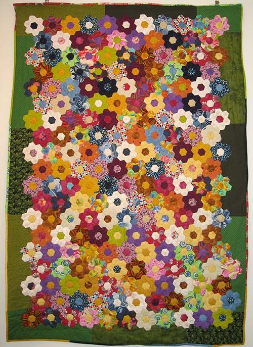 Hexagon-Flowers Made Using Lots Of Scraps