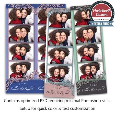 Affair to Remember 4-up Strips Photo Booth Template - 4up template