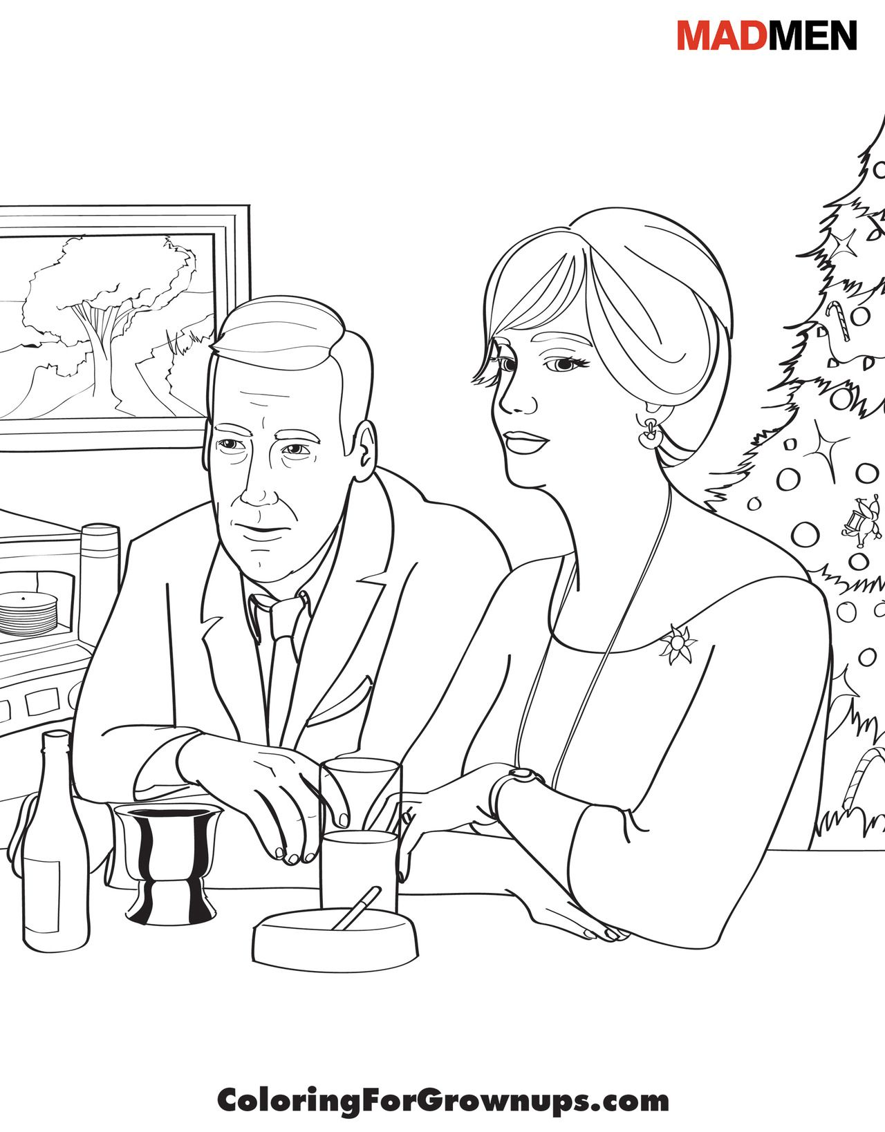 Madmen Coloring Page Coloringforgrownups