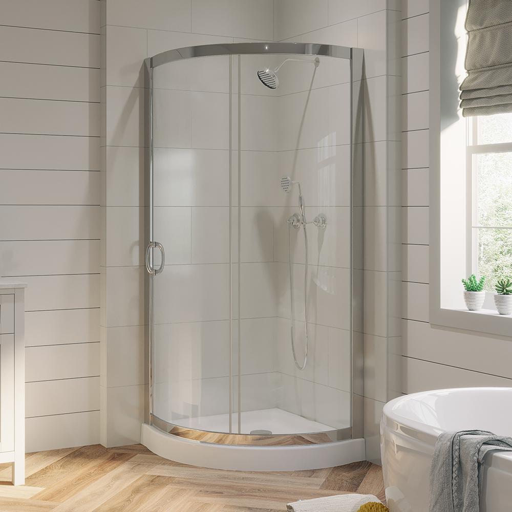 Ove Decors Breeze 31 In X 31 In X 76 In Shower Kit With Reversible Sliding Door And Shower Base Breeze 31 Corner Shower Kits Round Shower Doors Shower Kits