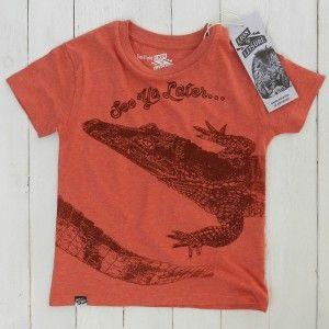 Lion of Leisure hand printed Antwerp webshop trend shirt red melange crocodile krokodillen shirt rood