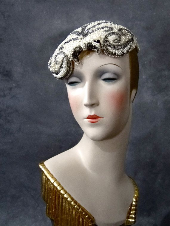 Vintage Wedding Hat Cocktail Beaded Silk 1950's Bride Bridal Bridesmaids Womens Accessories 50's Fashions