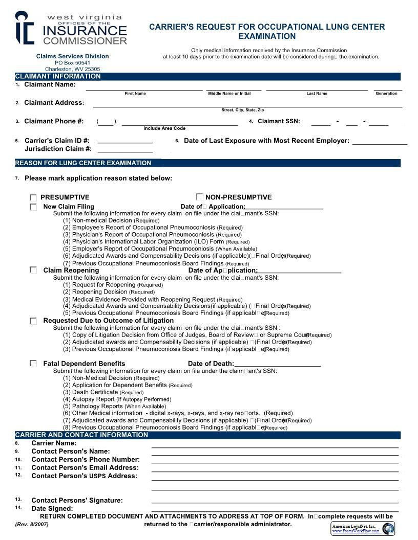 This is a West Virginia form that can be used for Workers