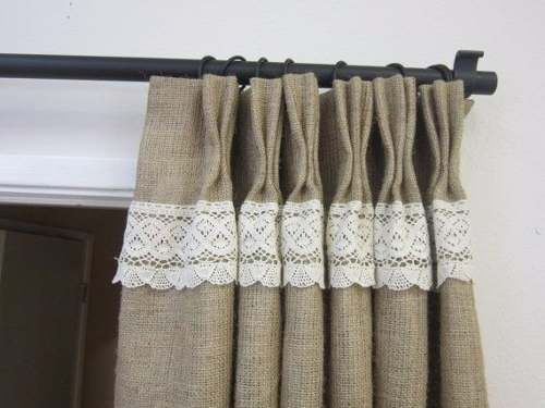 Divinas cortinas en arpillera combinada con puntilla - Cortinas de arpillera ...