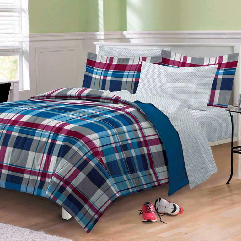 varsity denim blue red plaid teen boy bedding twin full bed bag childrens comforter sets bunk quilt