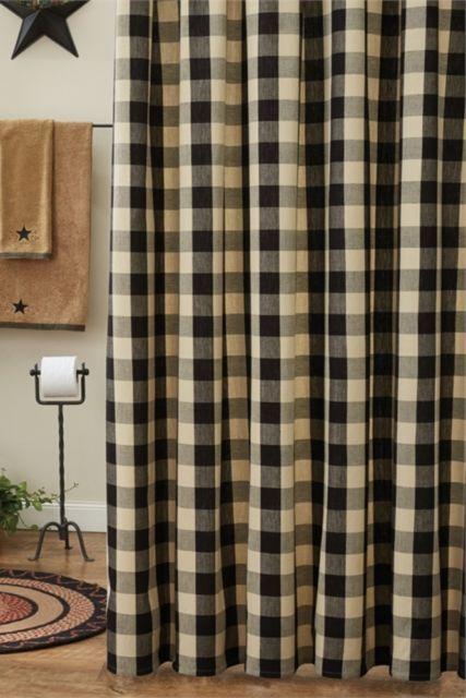 Wicklow Black Shower Curtain 72x72 Buffalo Check Cotton Country Farmhouse Bath Ebay Black Shower Curtains Primitive Bathrooms Tan Shower Curtain