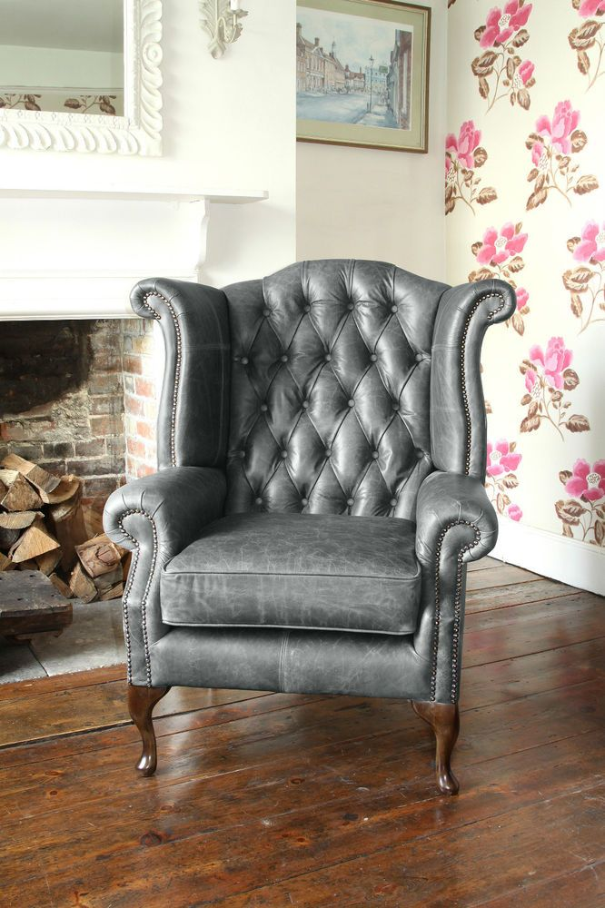 Chesterfield Queen Anne High Back Wing Chair In Vintage Grey