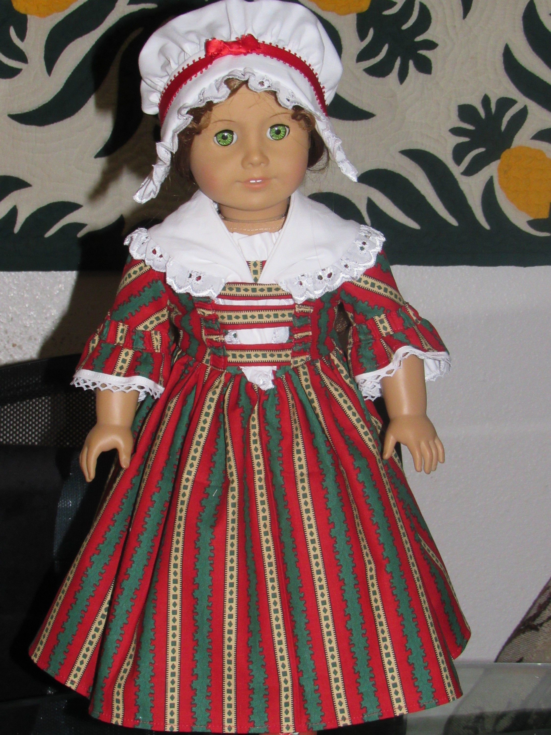 1770s 3 Pc Holiday Colonial Dress Gown Shawl Round Eared Cap for American Girl Felicity Elizabeth 18 inch doll