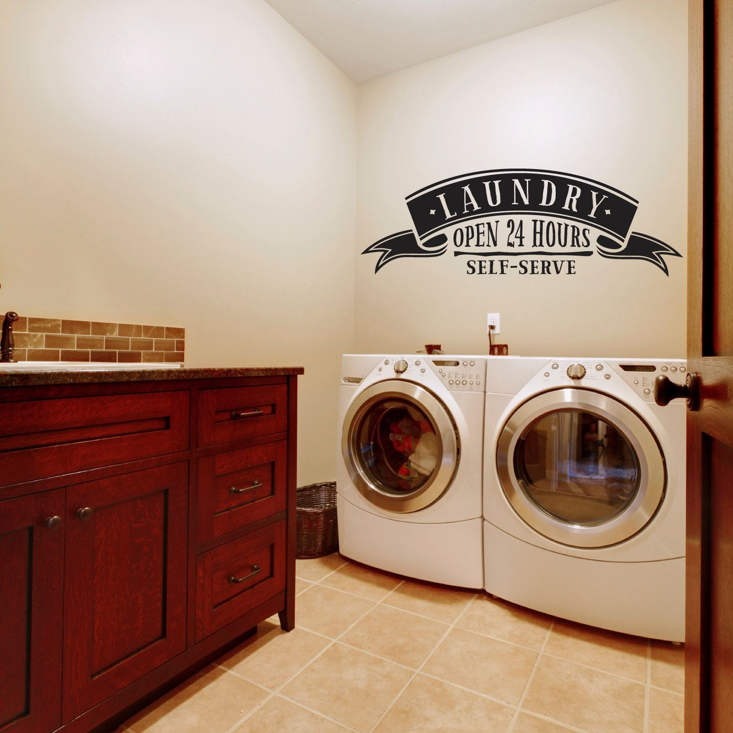 Removable Wall Decals Laundry Room Laundry Room  Self Service Landry Open 24 Hours  Laundry Room