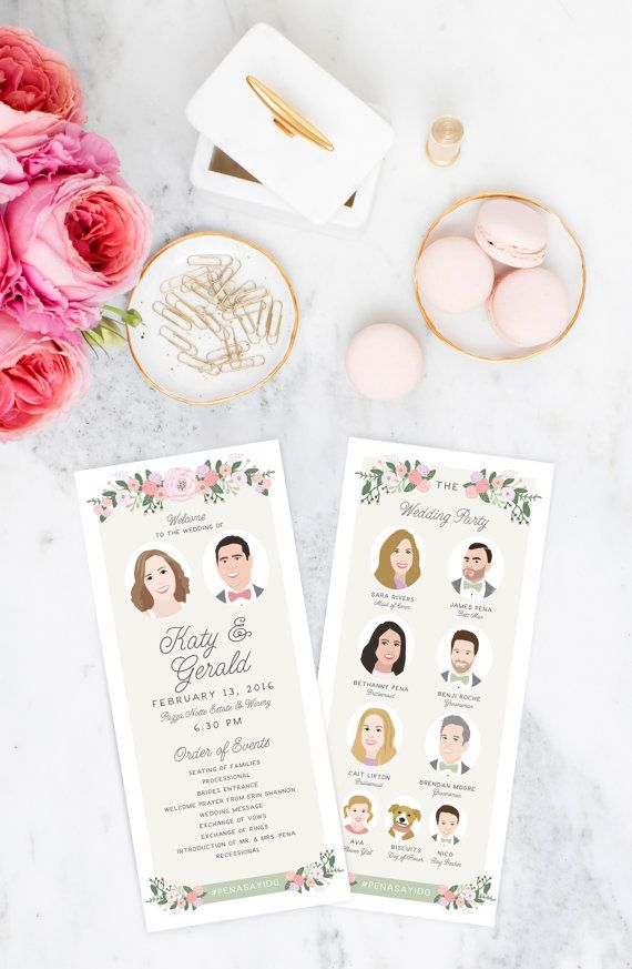 Wedding Programs  with Illustrated Wedding Party Portraits - The Bailey Set