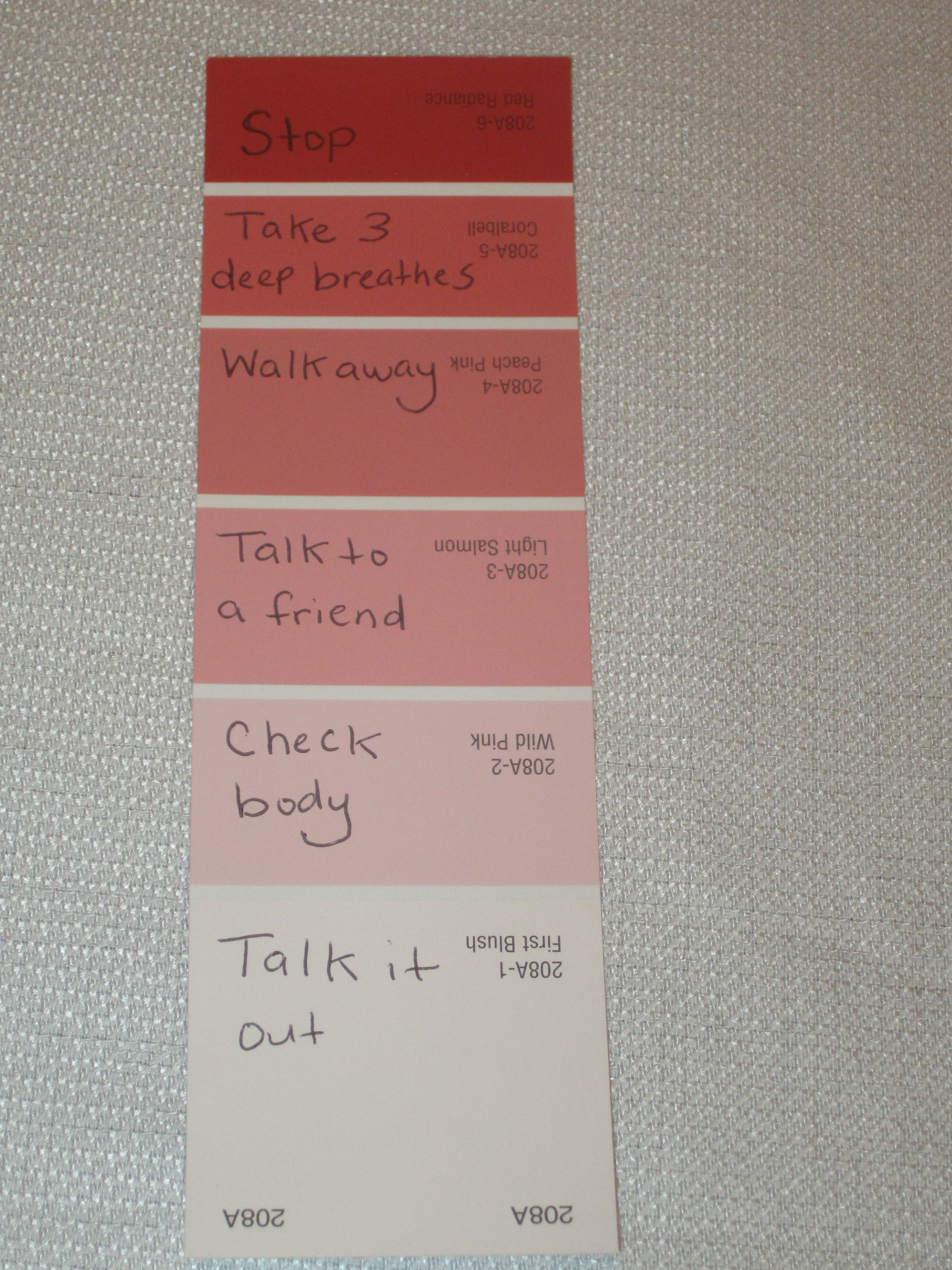 Use Color Swatch For Anger Management I LOVE This To Help Some Of My Clients Track Where They Are Could Be Used With Other Feelings