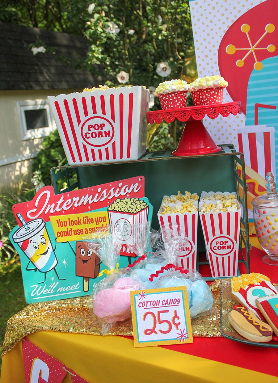 Easton S Retro Drive In Movie Party Just Add Confetti Movie Themed Party Movie Birthday Party Cars Birthday Party Decorations