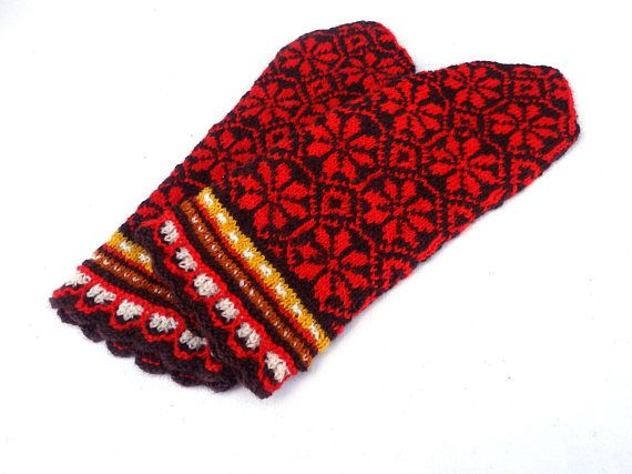 Mittens hand knitted brown red wool mittens fair isle mitts ...