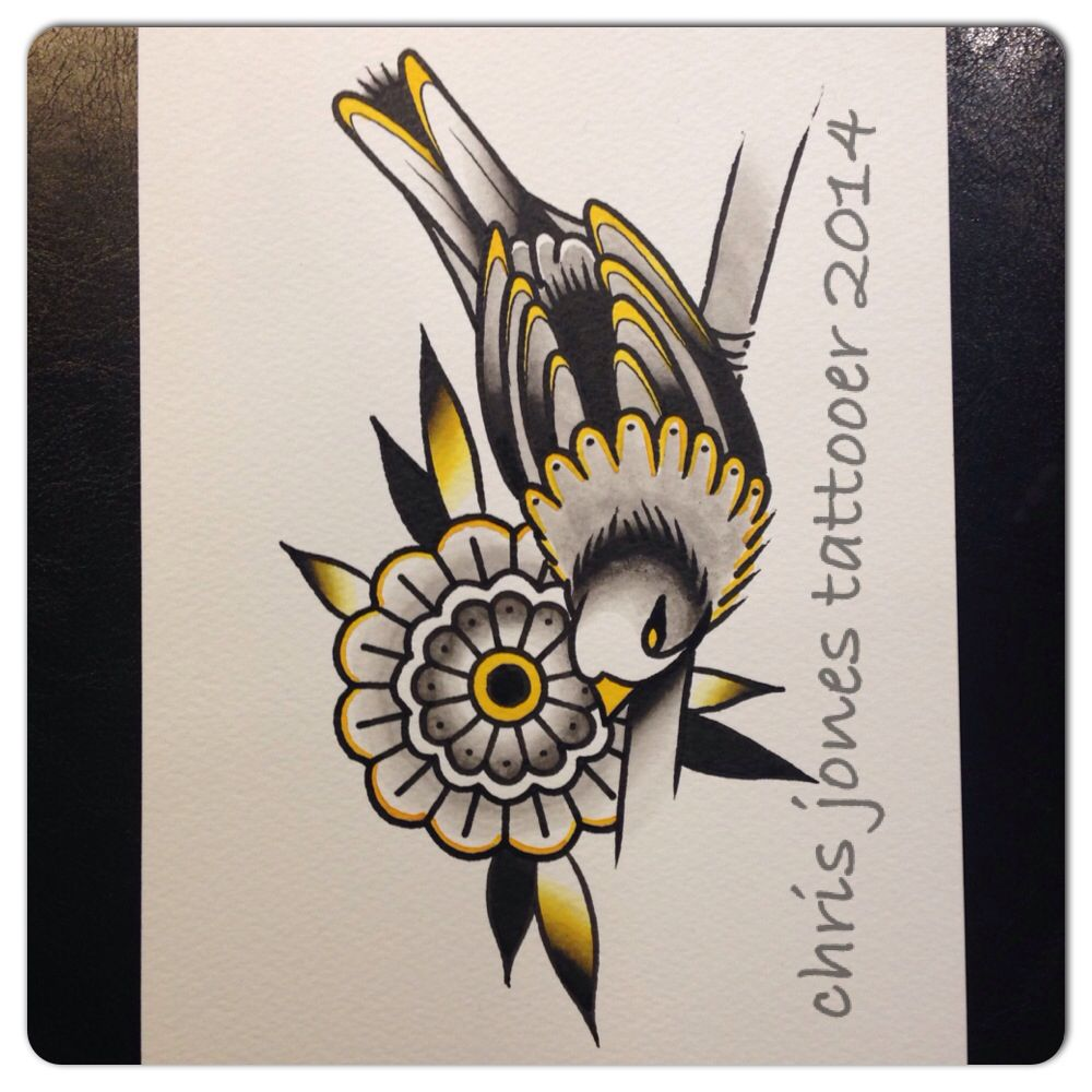 Bird and geometric flower water colour and ink by chris jones
