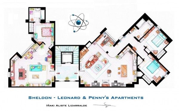 Floor plans of homes from famous TV shows #apartmentfloorplans