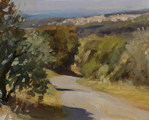 daily painting titled Road to Caromb - postcard from provence| oil