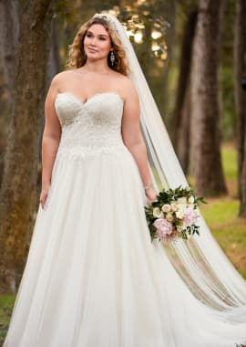 A-Line Plus Size Wedding Dress with Princess Cut Neckline   WD Lace ...