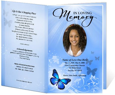Butterfly printable funeral program template funerals for Funeral biography template