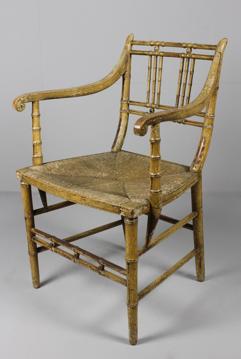 Regency Faux Bamboo Decorated Armchair