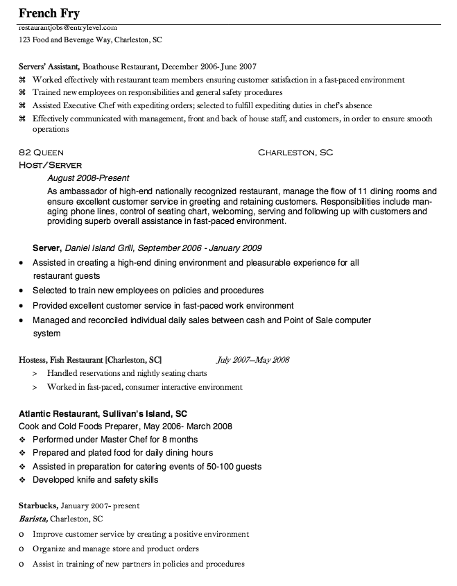 Food Service Worker Resume Server Assistant Resume Sample  Httpresumesdesignserver