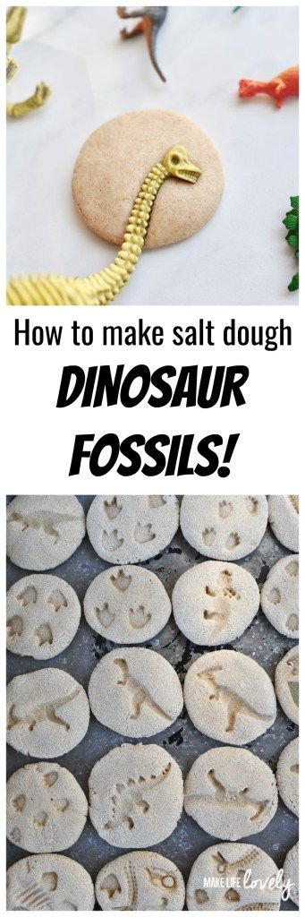 How to make DIY dinosaur fossils from salt dough. Great dino dig activity for a dinosaur party or just for fun!