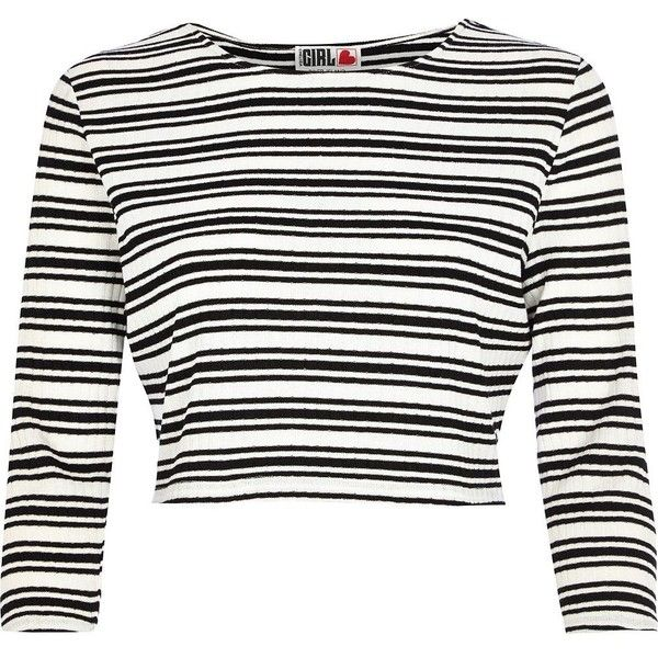 3594050ba3ca River Island Black Chelsea Girl stripe crop top ( 9.15) ❤ liked on Polyvore  featuring