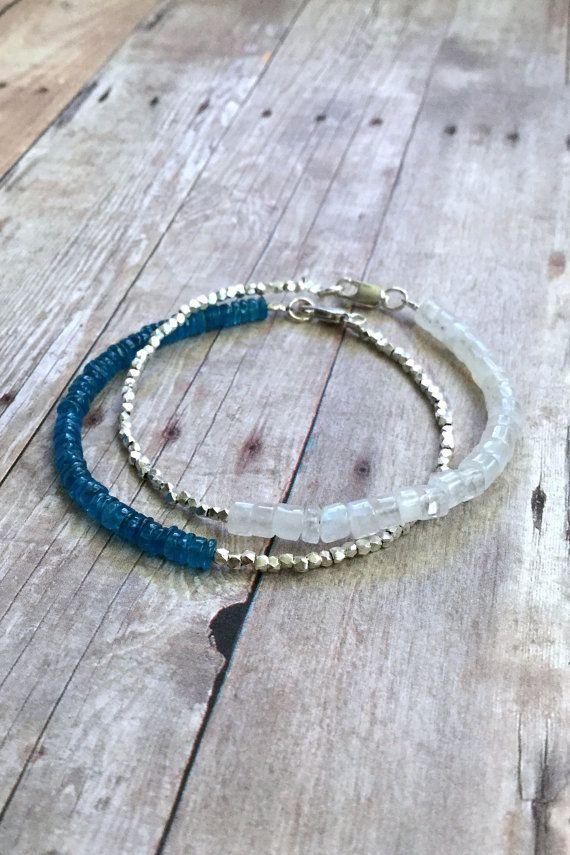 Photo of Rainbow Moonstone Bracelet | Semi Precious Stone Jewelry | Sterling Silver Delicate Gemstone Bracelet Set | Genuine Moonstone Jewelry