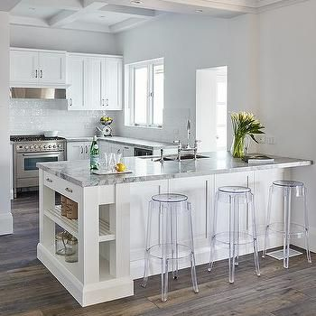Pleasant Kitchen Peninsula With Charles Ghost Bar Stools In 2019 Machost Co Dining Chair Design Ideas Machostcouk