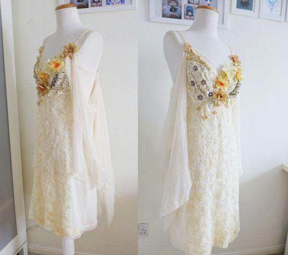 Primrose Dress ivory lace button embellishments and by nuvonova