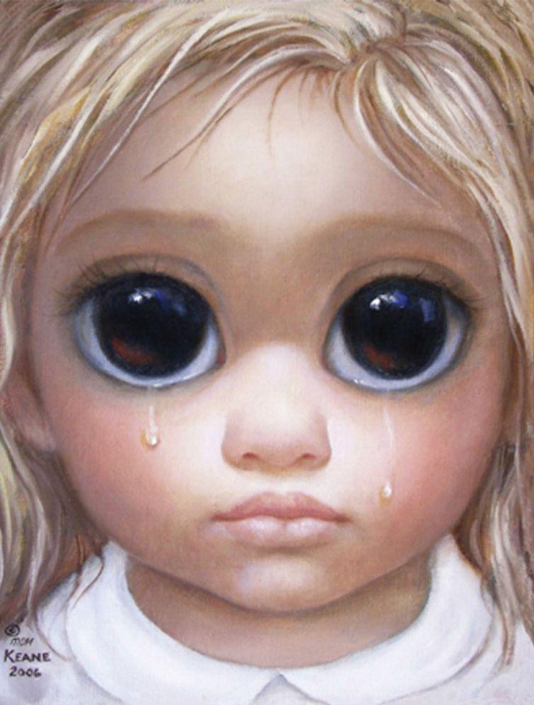 Big Eyes Crying Girl  by Margaret Keane